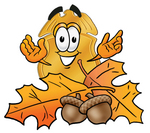 Clip art Graphic of a Gold Law Enforcement Police Badge Cartoon Character With Autumn Leaves and Acorns in the Fall