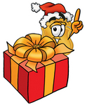 Clip art Graphic of a Gold Law Enforcement Police Badge Cartoon Character Standing by a Christmas Present