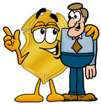 Clip art Graphic of a Gold Law Enforcement Police Badge Cartoon Character Talking to a Business Man
