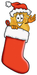 Clip art Graphic of a Gold Law Enforcement Police Badge Cartoon Character Wearing a Santa Hat Inside a Red Christmas Stocking