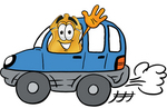 Clip art Graphic of a Gold Law Enforcement Police Badge Cartoon Character Driving a Blue Car and Waving