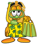 Clip art Graphic of a Gold Law Enforcement Police Badge Cartoon Character in Green and Yellow Snorkel Gear