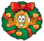 Clip art Graphic of a Gold Law Enforcement Police Badge Cartoon Character in the Center of a Christmas Wreath
