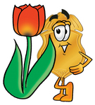 Clip art Graphic of a Gold Law Enforcement Police Badge Cartoon Character With a Red Tulip Flower in the Spring