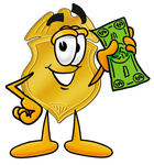 Clip art Graphic of a Gold Law Enforcement Police Badge Cartoon Character Holding a Dollar Bill