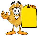 Clip art Graphic of a Gold Law Enforcement Police Badge Cartoon Character Holding a Yellow Sales Price Tag