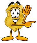 Clip art Graphic of a Gold Law Enforcement Police Badge Cartoon Character Waving and Pointing