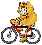 Clip art Graphic of a Gold Law Enforcement Police Badge Cartoon Character Riding a Bicycle
