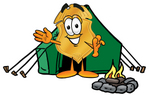 Clip art Graphic of a Gold Law Enforcement Police Badge Cartoon Character Camping With a Tent and Fire