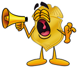 Clip art Graphic of a Gold Law Enforcement Police Badge Cartoon Character Screaming Into a Megaphone