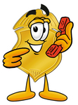 Clip art Graphic of a Gold Law Enforcement Police Badge Cartoon Character Holding a Telephone