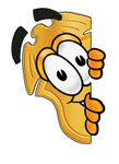 Clip art Graphic of a Gold Law Enforcement Police Badge Cartoon Character Peeking Around a Corner