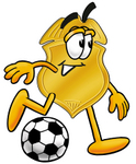 Clip art Graphic of a Gold Law Enforcement Police Badge Cartoon Character Kicking a Soccer Ball