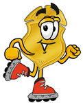 Clip art Graphic of a Gold Law Enforcement Police Badge Cartoon Character Roller Blading on Inline Skates