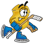 Clip art Graphic of a Gold Law Enforcement Police Badge Cartoon Character Playing Ice Hockey