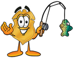 Clip art Graphic of a Gold Law Enforcement Police Badge Cartoon Character Holding a Fish on a Fishing Pole