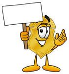 Clip art Graphic of a Gold Law Enforcement Police Badge Cartoon Character Holding a Blank Sign