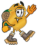 Clip art Graphic of a Gold Law Enforcement Police Badge Cartoon Character Hiking and Carrying a Backpack