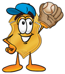Clip art Graphic of a Gold Law Enforcement Police Badge Cartoon Character Catching a Baseball With a Glove