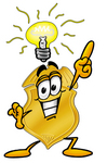Clip art Graphic of a Gold Law Enforcement Police Badge Cartoon Character With a Bright Idea