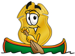 Clip art Graphic of a Gold Law Enforcement Police Badge Cartoon Character Rowing a Boat