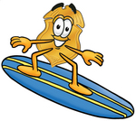 Clip art Graphic of a Gold Law Enforcement Police Badge Cartoon Character Surfing on a Blue and Yellow Surfboard