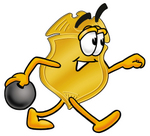 Clip art Graphic of a Gold Law Enforcement Police Badge Cartoon Character Holding a Bowling Ball