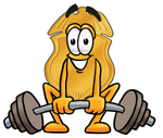 Clip art Graphic of a Gold Law Enforcement Police Badge Cartoon Character Lifting a Heavy Barbell