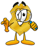 Clip art Graphic of a Gold Law Enforcement Police Badge Cartoon Character Looking Through a Magnifying Glass