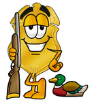 Clip art Graphic of a Gold Law Enforcement Police Badge Cartoon Character Duck Hunting, Standing With a Rifle and Duck