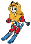 Clip art Graphic of a Gold Law Enforcement Police Badge Cartoon Character Skiing Downhill