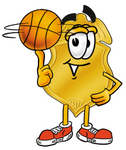 Clip art Graphic of a Gold Law Enforcement Police Badge Cartoon Character Spinning a Basketball on His Finger
