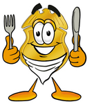 Clip art Graphic of a Gold Law Enforcement Police Badge Cartoon Character Holding a Knife and Fork