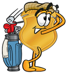 Clip art Graphic of a Gold Law Enforcement Police Badge Cartoon Character Swinging His Golf Club While Golfing