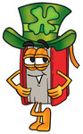 Clip Art Graphic of a Book Cartoon Character Wearing a Saint Patricks Day Hat With a Clover on it