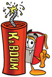 Clip Art Graphic of a Book Cartoon Character Standing With a Lit Stick of Dynamite