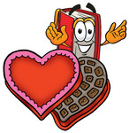 Clip Art Graphic of a Book Cartoon Character Holding a Red Rose on Valentines Day