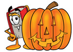 Clip Art Graphic of a Book Cartoon Character With a Carved Halloween Pumpkin