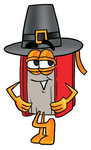 Clip Art Graphic of a Book Cartoon Character Wearing a Pilgrim Hat on Thanksgiving