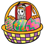 Clip Art Graphic of a Book Cartoon Character in an Easter Basket Full of Decorated Easter Eggs