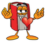 Clip Art Graphic of a Book Cartoon Character With His Heart Beating Out of His Chest