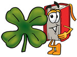 Clip Art Graphic of a Book Cartoon Character With a Green Four Leaf Clover on St Paddy's or St Patricks Day