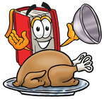 Clip Art Graphic of a Book Cartoon Character Serving a Thanksgiving Turkey on a Platter