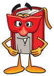 Clip Art Graphic of a Book Cartoon Character Wearing a Red Mask Over His Face