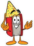 Clip Art Graphic of a Book Cartoon Character Wearing a Birthday Party Hat