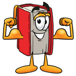 Clip Art Graphic of a Book Cartoon Character Flexing His Arm Muscles