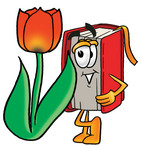 Clip Art Graphic of a Book Cartoon Character With a Red Tulip Flower in the Spring