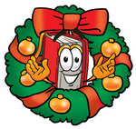 Clip Art Graphic of a Book Cartoon Character in the Center of a Christmas Wreath