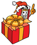 Clip Art Graphic of a Book Cartoon Character Standing by a Christmas Present