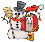 Clip Art Graphic of a Book Cartoon Character With a Snowman on Christmas